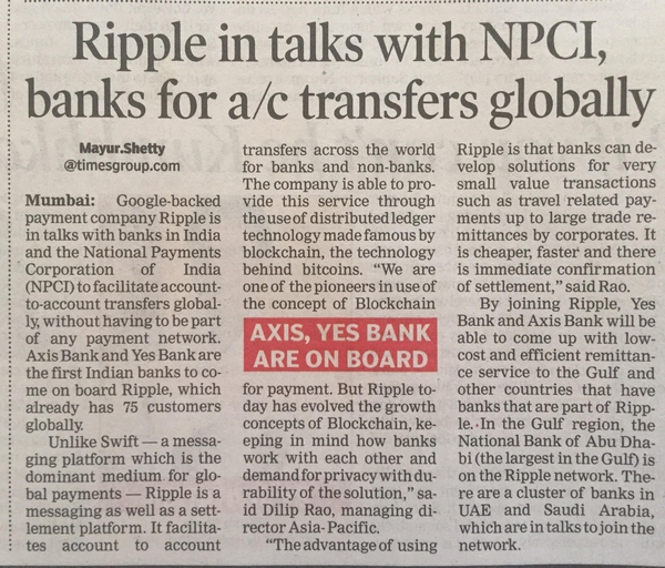 Ripple in talks with NPCI