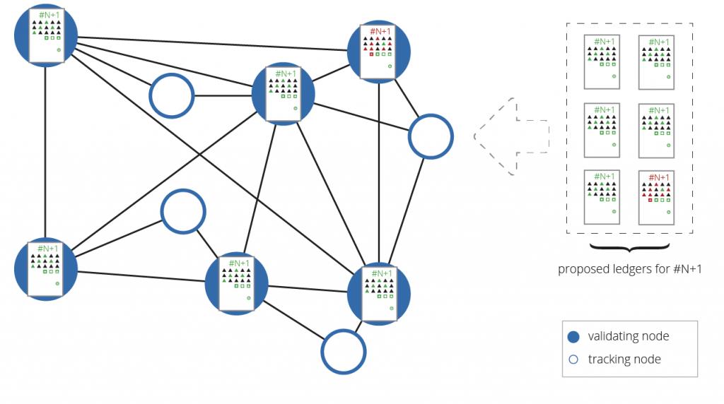 図8: ピアの大多数が同一の結果を算出したとき、レジャーは検証(validate)される — ノードは計算したレジャーと選択された検証ノードから受け取ったハッシュを比較する。一致しない場合、ノードは再計算するか、正しいレジャーを検索しなければならない。